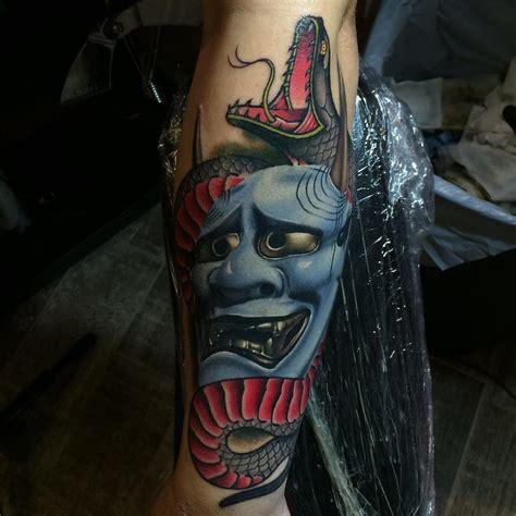 hannya mask amp snake best tattoo design ideas