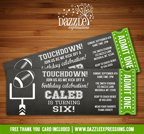 Printable Chalkboard Football Ticket Birthday Invitation Super Bowl Ftbol Kids Sports Party Free Football Ticket Template