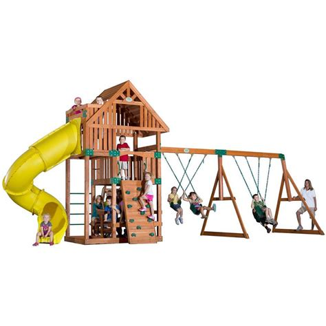 swing sets home depot backyard discovery montpelier all cedar playset 30211com