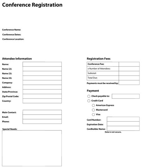 application form registration form template conference