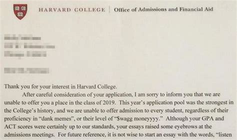 Rejection Letter Harvard After Llamas And Thedress This Harvard Rejection Letter