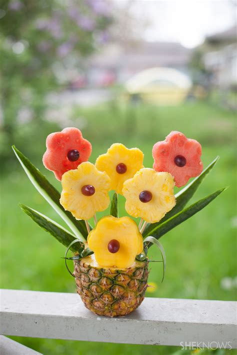 Flower Arrangements With Fruit In Vase by Tropical Fruit Bouquet In A Pineapple Vase