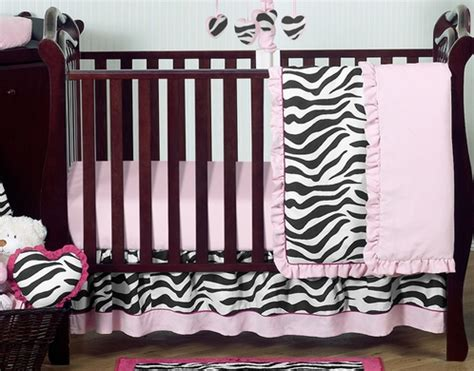 pink and black funky zebra baby bedding 11pc crib set