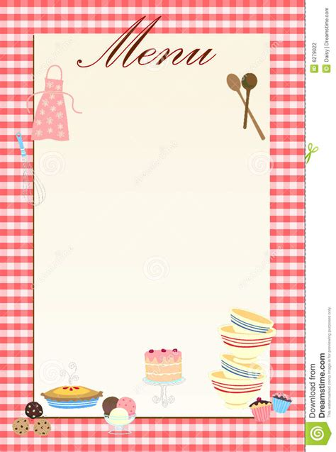 French Kitchen Design by Retro Menu Background Countrystyle Stock Illustration