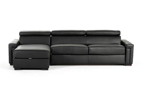 storage sectional estro salotti sacha modern black leather reversible sofa