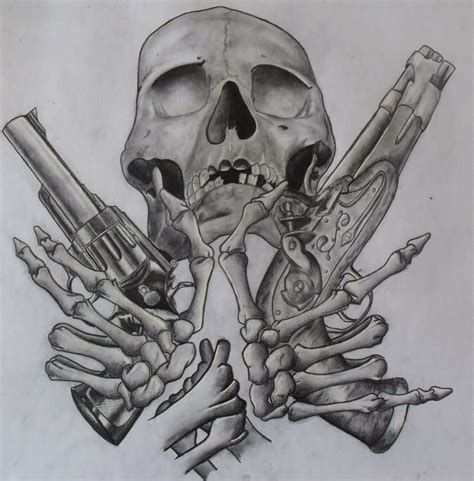 skull rose gun tattoo pistol tattoos designs and ideas page 10