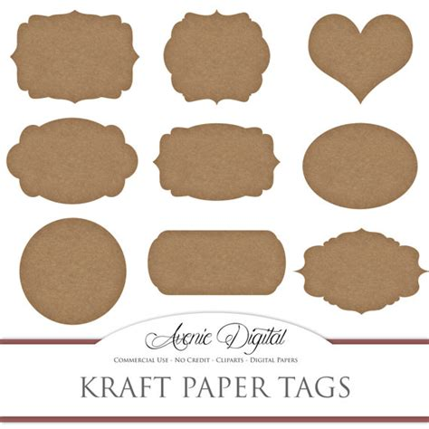 printable kraft paper labels digital cardboard tags scrapbooking printables kraft