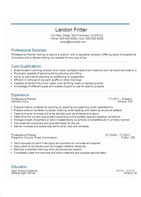Painter Resume by Painter Resume Botbuzz Co