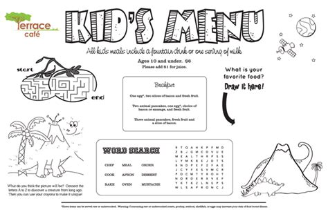 kid menu template menu kid menu designs kid menu templates
