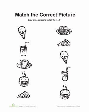 food matching game worksheet education com