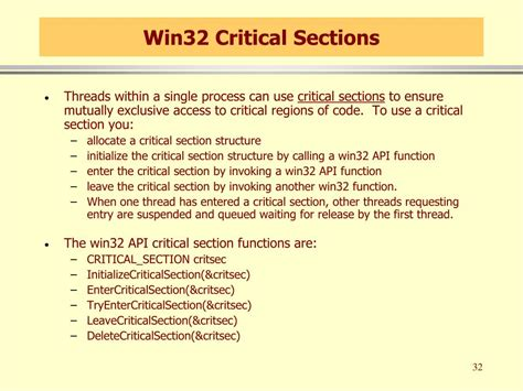 critical sections ppt win32 threads and thread synchronization powerpoint