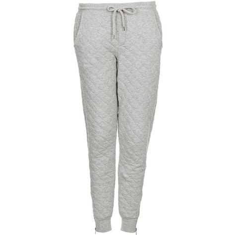 Quilted Joggers by Topshop Soft Grey Quilted Joggers Polyvore