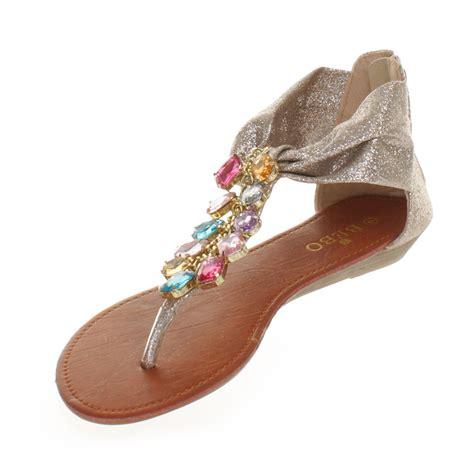 gold glitter flat shoes womens gold glitter multi gem jewelled flat sandals