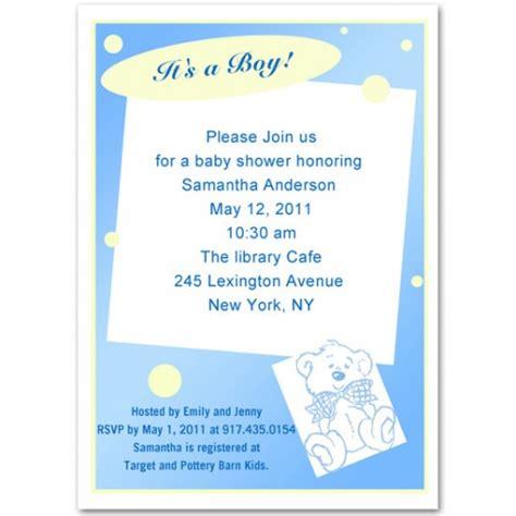 unique baby boy shower invitation wording unique blue teddy baby boy shower invitations bs055