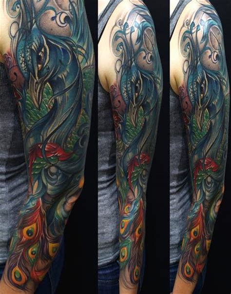 peacock sleeve tattoo junkies studio tattoos mike demasi