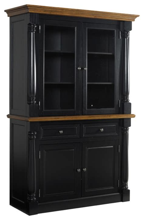 monarch black buffet and hutch contemporary china