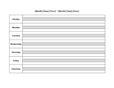 weekly blank calendar landscape   printable templates