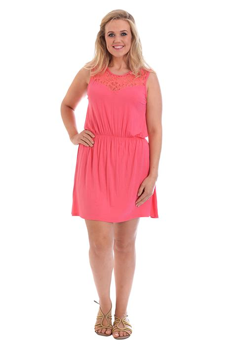 Satin Chic Tunic Dresses At Warehouse by New Plus Size Dress Womens Tunic Floral Lace Neck