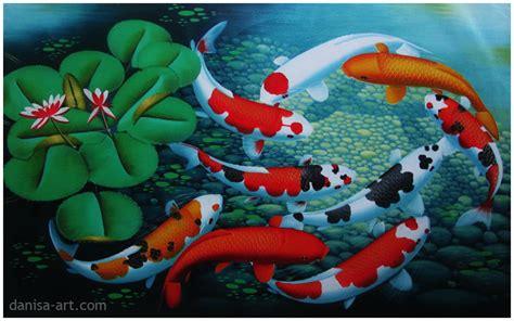 Lukisan Ikan Koi Bingkai gambar toko bingkai poster 5 panel hewan ikan abstrak lukisan di rebanas rebanas