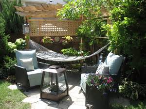 Small Outdoor Living Spaces On A Budget - backyard hammock with triangle pergola garden yard pinterest gardens corner garden and