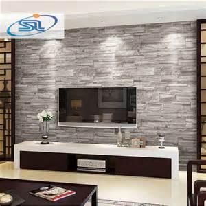 wohnzimmer wand design papier peint brique salon images