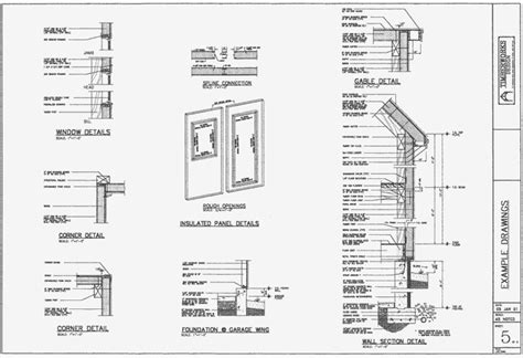 building floor plan detail and elevation view detail dwg file architectural drawing packages of post beam homes by
