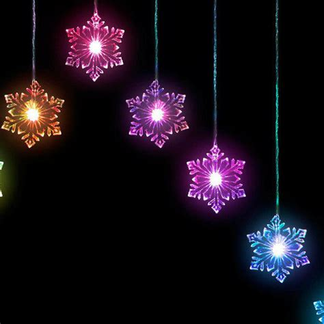 christmas 15 snowflake window curtain light multi coloured