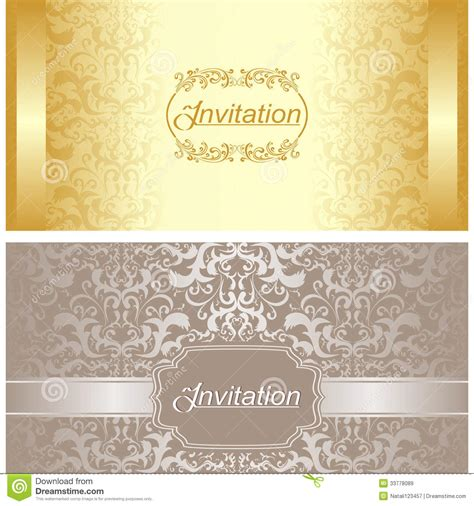 invitation design company names invitation card design in gold and silver colors stock
