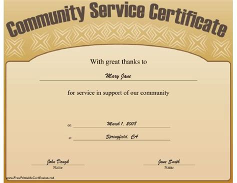 This Community Service Certificate Expresses Great Thanks For One S Service Free To Download Community Templates Free