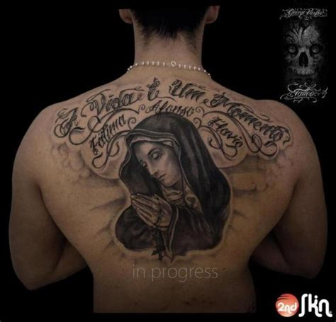 lettering back madonna tattoo by 2nd skin