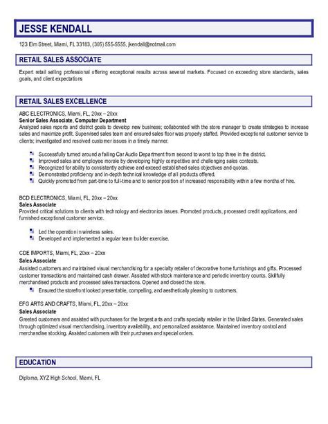 resumes for retail sales associates associate responsibilities