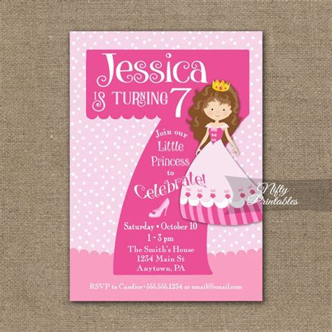 7th birthday invitations princess birthday invitation - Sle Invitation Card For 7th Birthday