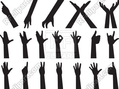 hand signs gestures illustration  white vector image  signs symbols maps