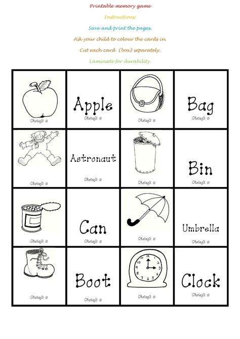 printable memory games i teacher printable memory game