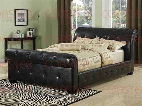 Black Leather Sleigh Bed Black Leather Like Vinyl Sleigh Bed By Coaster 300240q