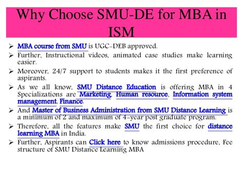 Mba Specializations List In Smu by Smu Distance Learning Mba In Information System Management