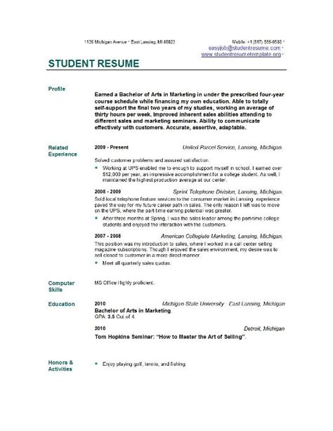Resume Format For Phd Students Student Resume Templates Student Resume Template
