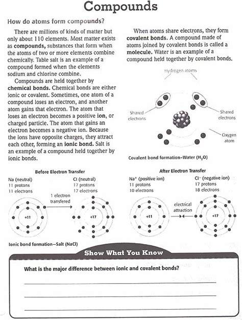 Atoms Elements Molecules And Compounds Worksheet by Elements Compounds And Mixtures Worksheet Answers