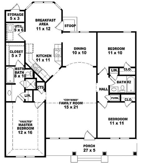 3 Bedroom Ranch House Floor Plans 654069 One Story 3 Bedroom 2 Bath Ranch Style House Plan House Plans Floor Plans Home