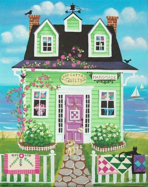 cozy cottage quilt shop folk print