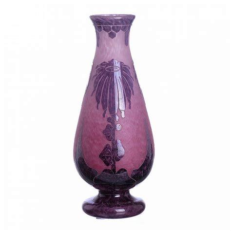 Le Vase by Le Verre Francais Schneider Dahlias Vase In Cameo Glass