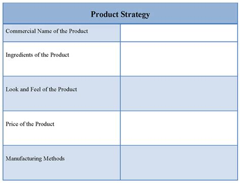 template for product strategy exle of product strategy