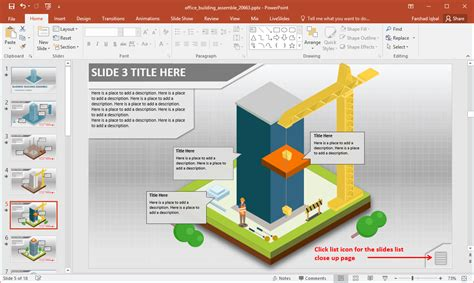 Office Building Construction Animations For Powerpoint Department Presentation Templates