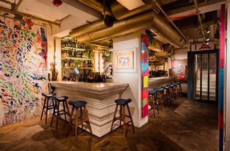 design art cafe bibo restaurant in hong kong furnished with street art