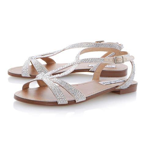 Flat Sandal Pita Silver steve madden starrz diamante crossover flat sandals in metallic lyst