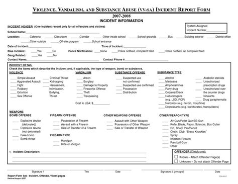 bullying incident report template exle of a school incident report form