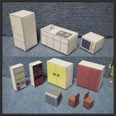 Simple Furniture Paper Models For Diorama Free Templates Download Http Www Papercraftsquare Cabinet Paper Template