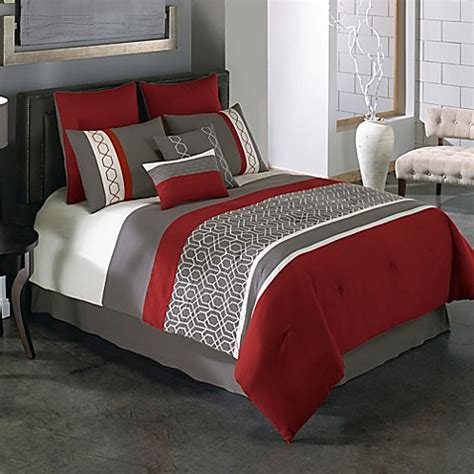 Covington 8 Piece Comforter Set in Red/Grey   Bed Bath