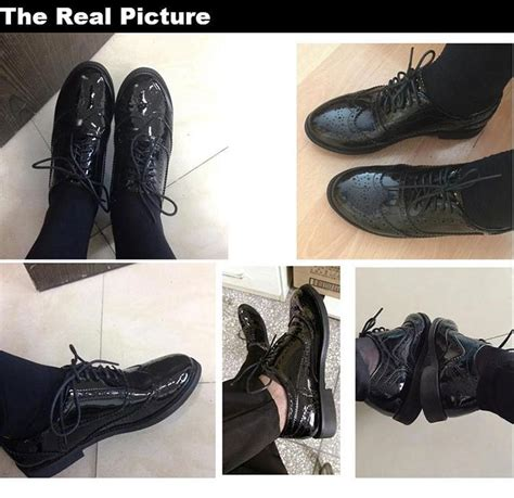 Genuine Leather Brogue Oxfords genuine leather shoes brogues lace up flat heels