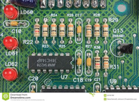 resistors function circuit board circuit board with resistors and leds stock photo image 25105780